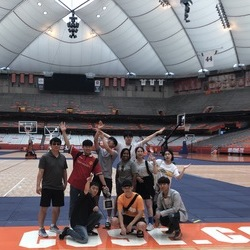 Students at Syracuse University's Carrier Dome.