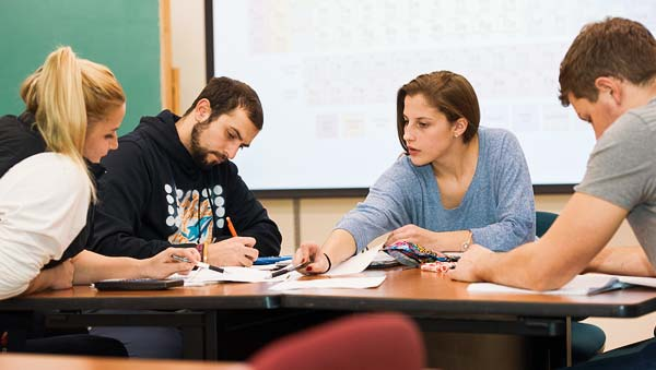 Students in a peer tutoring session