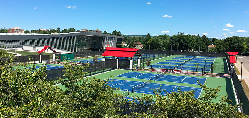 View of the Student Life Center and tennis courts from Park Center