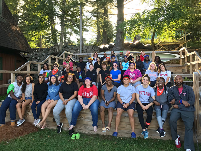 Group of peer 2 peer mentors and mentees at Raquette Lake