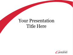 Cortland PowerPoint template with red enlarged C on title slide and white header on other slides