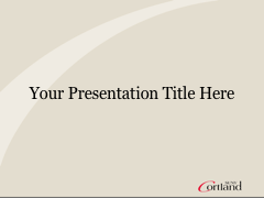 Cortland PowerPoint template with gray background on title slide and gray header on other slides