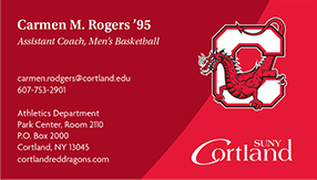 Business card samples with the same information as the ones previously shown, with the addition of the athletics logo or secondary mark placed above the SUNY Cortland logo