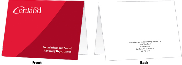 red notecard with SUNY Cortland logo at the top and sample office name at the bottom. The back is white with black text
