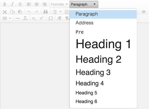 Headings are found under the format dropdown, which is set to Paragraph by default.