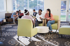 Students in residence hall lounge