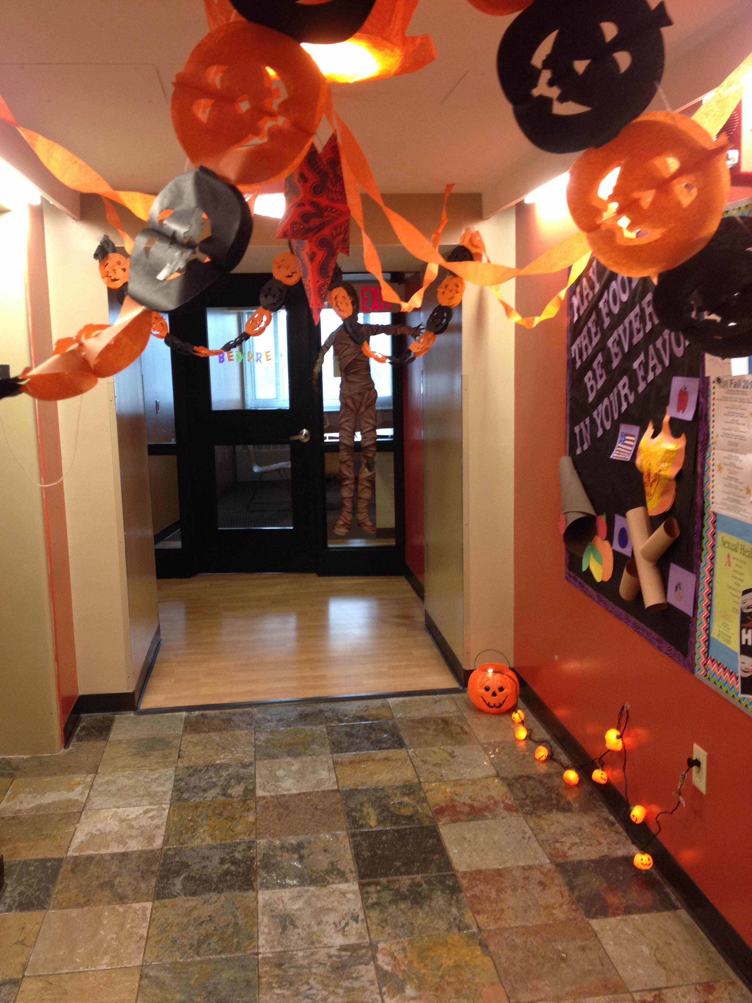 A residence hallway with halloween decorations